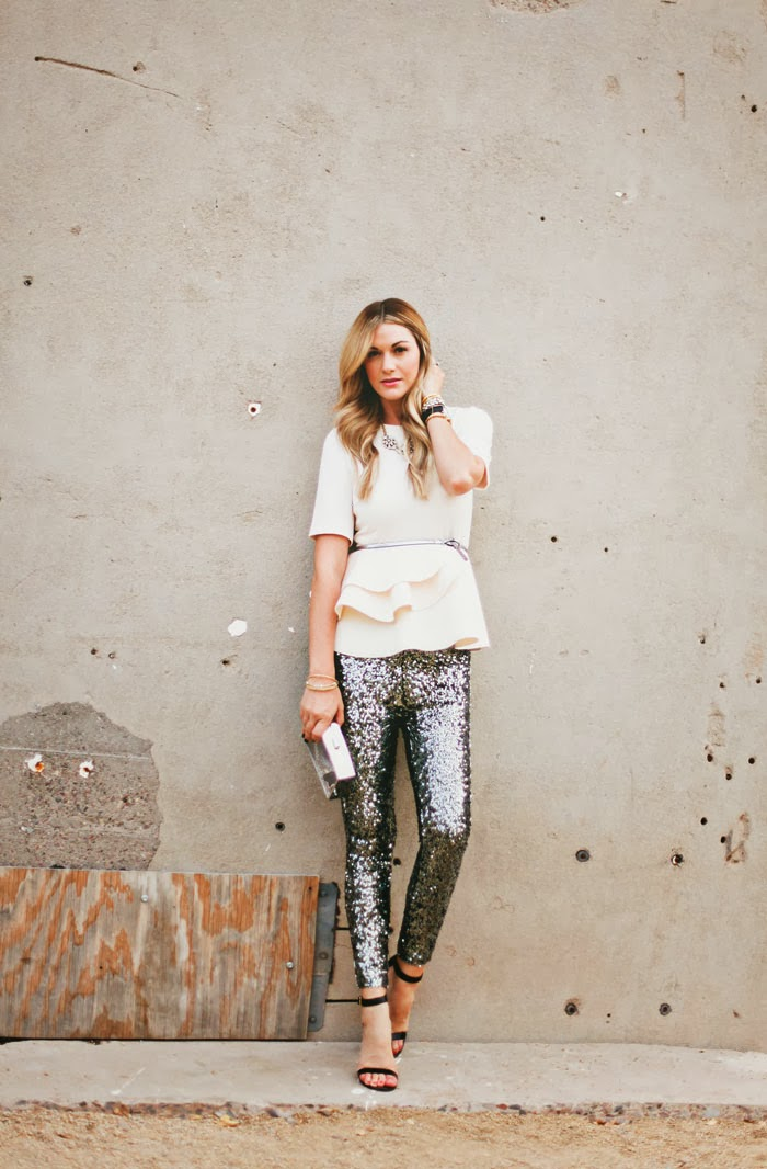 Sequin Pants, Sequins Pants, Sequined Pants, French Connection Sequined Pants, French Connection Leggings, Holiday, ASOS Peplum, Ivory Peplum, Silver, Cream, Steve Madden, Realove, Ankle Strap Heels, Black Heels, Guest Post, Side Smile Style, Fashion Blog, Fashion Blogger, A Little Dash of Darling, Dash of Darling, Caitlin Lindquist, Holiday Outfit Ideas, What to Wear to a Holiday Party, How to Wear Sequin Pants, Steve Madden Realove, Rakani Watch, Fashionably Late Watch, Vita Fede Bracelet, Titan Bracelet
