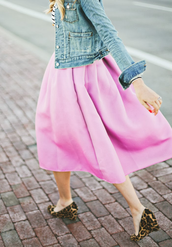 Christmas, Christmas Eve, Radiant Orchid, Tibi, Pink Full Skirt, Full Skirt, Silk Full Skit, Tibi Full Skirt, Tibi Skirt, Tibi Midi Skirt, Pink Midi Skirt, Midi Skirt, Midi, Simona Jacquard, Windsor Store, Windsor, Stripe Crop, Crop Top, Stripe Turtleneck, Turtleneck, Jean Jacket, Abercrombie, JCrew Jewelry, JCrew Necklace, Tassle Necklace, Leopard Wedges, JCrew Leopard Wedges, Wedges, Floral Clutch, Flower Clutch, Kate Spade Clutch, Kate Spade Floral Clutch, Spring, Summer, Fall, Pantone, Pantone Color of the Year, Pantone Radiant Orchid, Pantone 2014, Floral, Stripes, Pink, Leopard, Summer Outfit, Women's Fashion, Fashion Blog, Fashion Blogger, Arizona Fashion Blog, Utah Fashion Blog, Utah Fashion Blogger, Arizona Fashion Blogger, Kate Spade, Feminine Outfit, Caitlin Lindquist, A Little Dash of Darling, Dash of Darling, Spring Outfit, Outfit Ideas