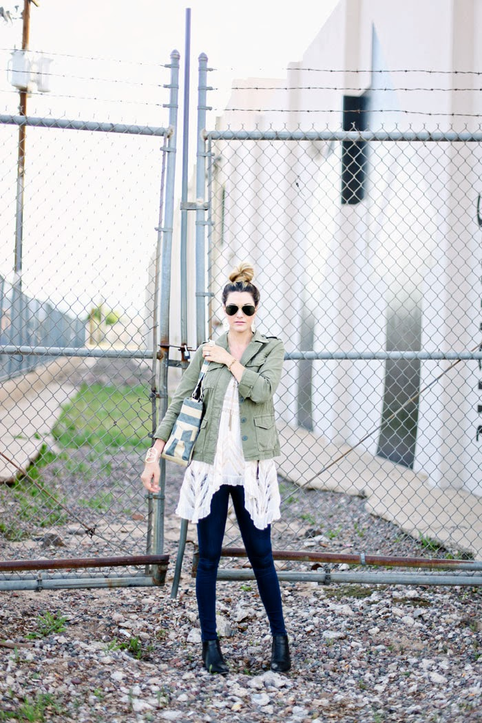 Free People, Trapeze Dress, Trapeze Slip, Free People Trapeze, Bun, Top Knot, Ray-Ban, Aviators, Pink Lips, Army Jacket, Green Jacket, Military Jacket, Madewell Jacket, Madewell Coat, Flowy, Relaxed, Weekend, Weekend Wear, What to wear on the weekends, Kendra Scott, Tassel Necklace, Cuff Bracelet, Kendra Scott Earrings, Renegade Cluster Bracelet, Stella & Dot, Stella Dot, Free Endearment, JBrand, J Brand, Jeans, Catbird, Barlow Booties, Joie Booties, Stripe Bag, Delicate Rings, Jaci Marie, Jaci Marie Smith, Jaci Marie Photography, Caitlin Lindquist, Fashion Blog, Fashion Blogger, Arizona Fashion Blog, Arizona Fashion Blogger, Utah Fashion Blog, Utah Fashion Blogger
