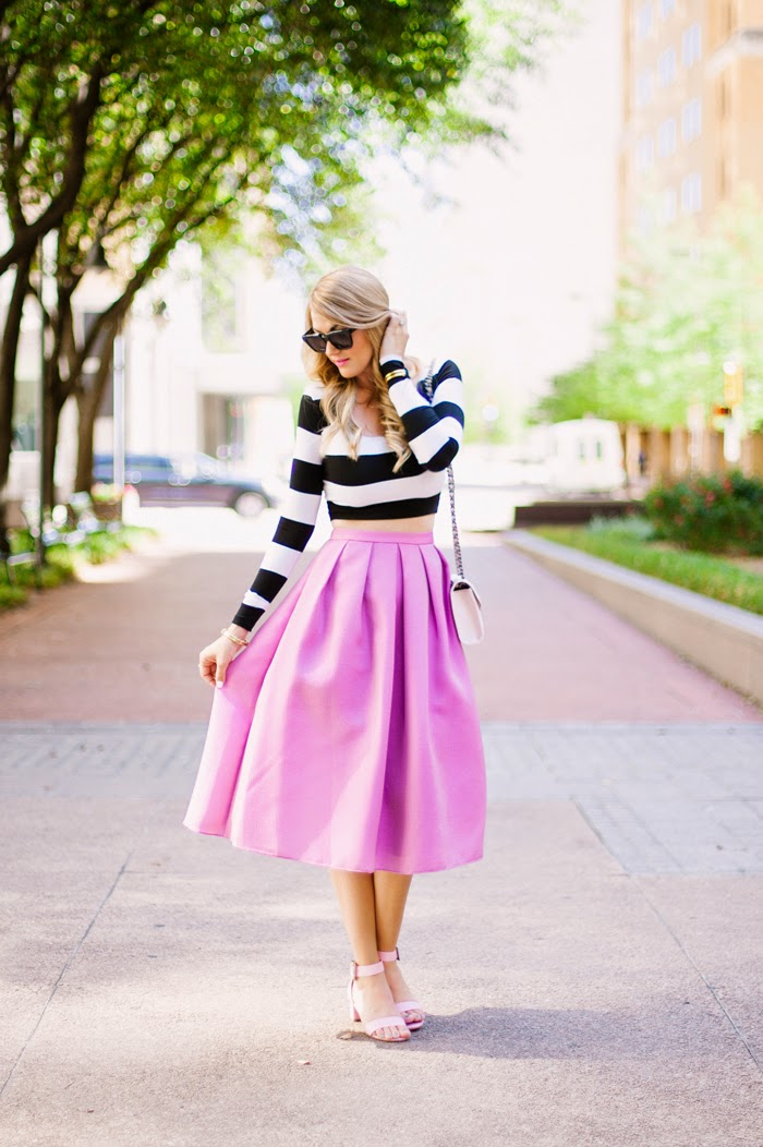 Stripe Crop Top, Crop Top, Nadia Tarr, Celine Sunglasses, Rebecca Minkoff, Quilted Mini, Mini Bag, Gorjana Griffin, Taner Bar Necklace, Tibi Full Skirt, Silk Full Skirt, ASOS, Ankle Strap Heels, Pink Heels, Patel Pink, Radiant Orchid, Orchid Skirt, MAC, Candy Yum Yum, Caitlin Bangle, Elaine Turner, Vita Fede Titan, Turquoise Spike Bracelet, Caitlin Lindquist, A Little Dash of Darling, #rsthecon, Reward Style, Top 200 Bloggers, Top 100 Bloggers, Top 100 fashion Blogs, fashion blog, reward style the conference, fashion blogger conference, kate spade, kate spade cocktail party, rewardstyle, asos, rebecca minkoff, intermix