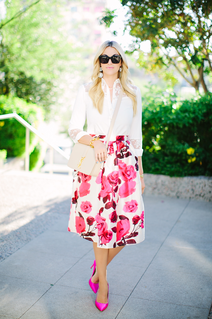 Chicwish, Floral, Rose, Midi, Skirt, Full, Spring, Fall, White, Lace, Button Down, Blouse, Pink, Satin, JCrew, Pumps, Heels, YSL, Cassandra, Monogramme, Flap, Tan, Nude, Crossbody, Shoulder, Bag, Celine, Sunglasses, Ily Couture, Crystal, Chandelier, Earrings, Caitlin Lindquist, A Little Dash of Darling, Scottsdale, Arizona, Phoenix, Tempe, Blog, Blogger, Fashion, Lifestyle, Street Style, Personal Style, Fashion Blog, Outfit Inspiration, A-Line, Glam,