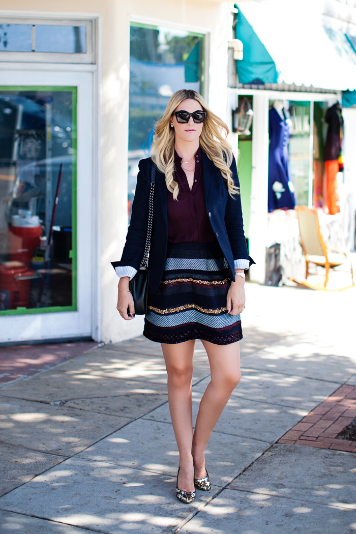 tory burch, danielle, tinsel, navy, mini, skirt, j.crew, button down, sleeveless, blouse, maroon, oxblood, schoolboy, blazer, chanel, boy, bag, gorjana, etta, sequin, glitter, pumps, heels, barneys, celine, sunglasses, laguna beach, travel, caitlin lindquist, a little dash of darling, fashion, blog, blogger, street style, stylist, arizona, scottsdale, phoenix, california, laguna niguel, pacific edge hotel, outfit inspiration, outfit ideas,