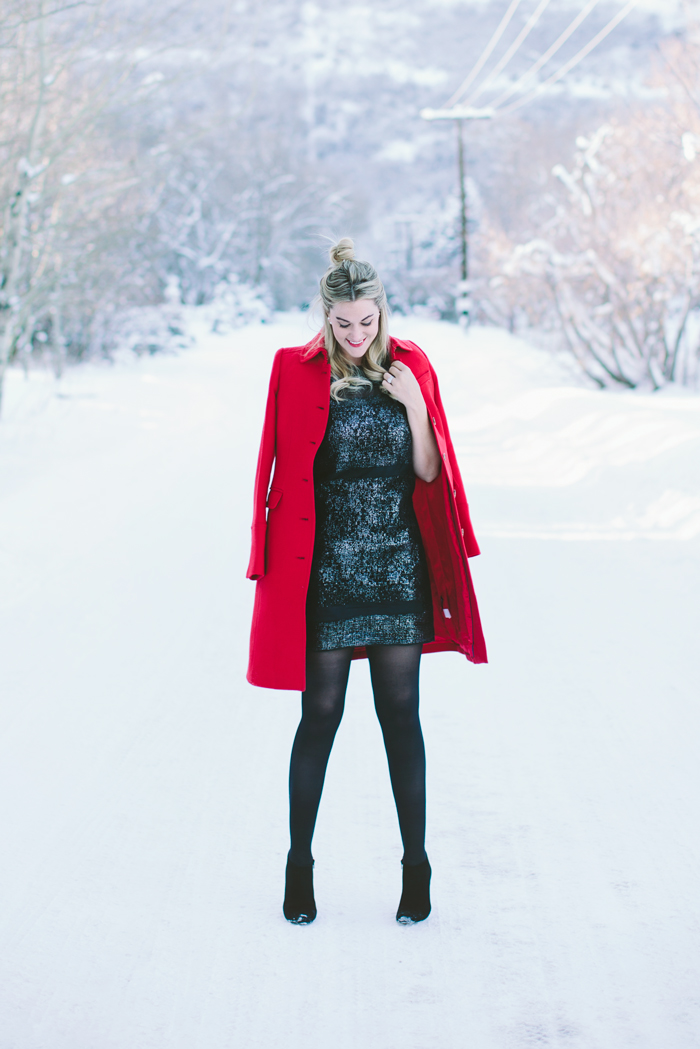 Rebecca Taylor, Metallic, Black, Lace, Shift, Dress, New Years Eve, 2015, Holidays, DKNY, Opaque, Tights, Kate Spade, Netta, Booties, J.Crew Thinsulate, Red, Wool, Coat, Lipstick, Chanel, Double Wear, Lip Stain, Dior, Pearl, Earrings, What to wear for New Years Eve, NYE Outfit, Outfit Ideas, Outfit Inspiration, Fashion Blog, Utah, Park City, Blogger, What to wear on new years