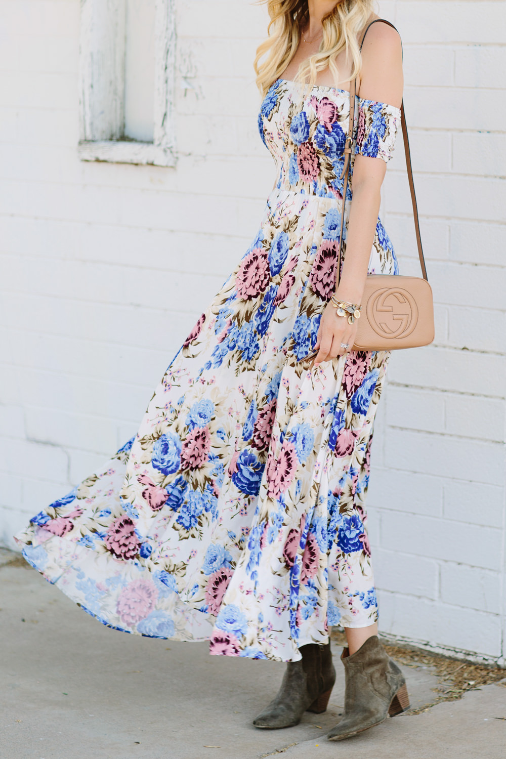 Dash of Darling styles an off shoulder floral maxi dress by Auguste from Revolve for the perfect bohemian summer outfit.