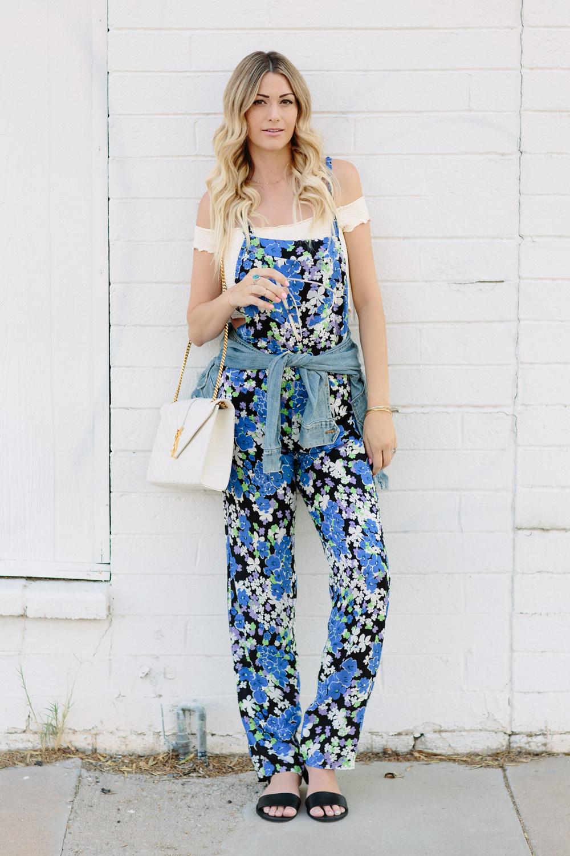 wild fox blue bouquet floral jumpsuit for summer