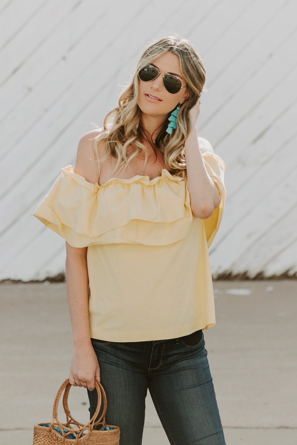 Bump Style   Maternity jeans with an off shoulder top