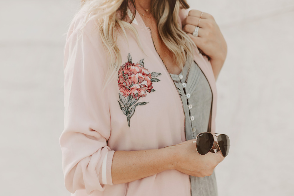 Dash of Darling | Pink Bomber Jacket and Grey Dress Summer Outfit