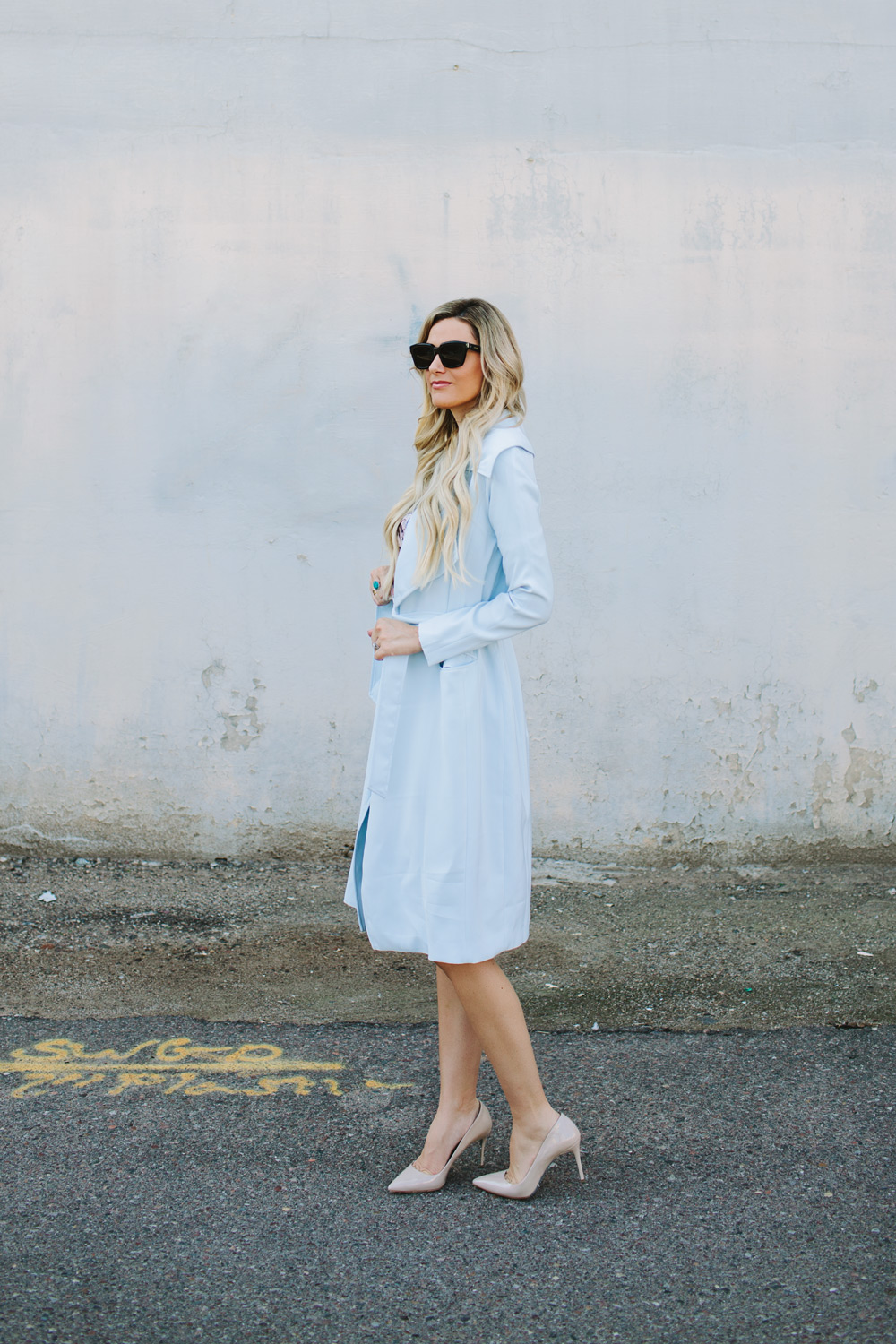 cameo, baby blue, trench coat