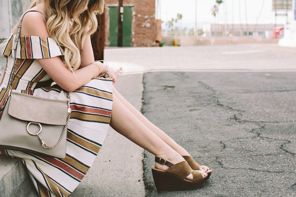 born suede wedges dash of darling spring outfit stripe dress