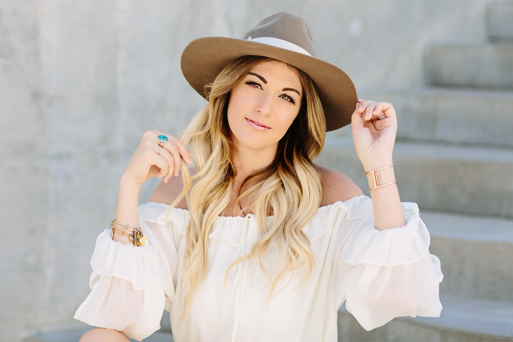 Dash of Darling wears a white off shoulder ruffled hem romper with a wide brim hat for the perfect summer outfit.