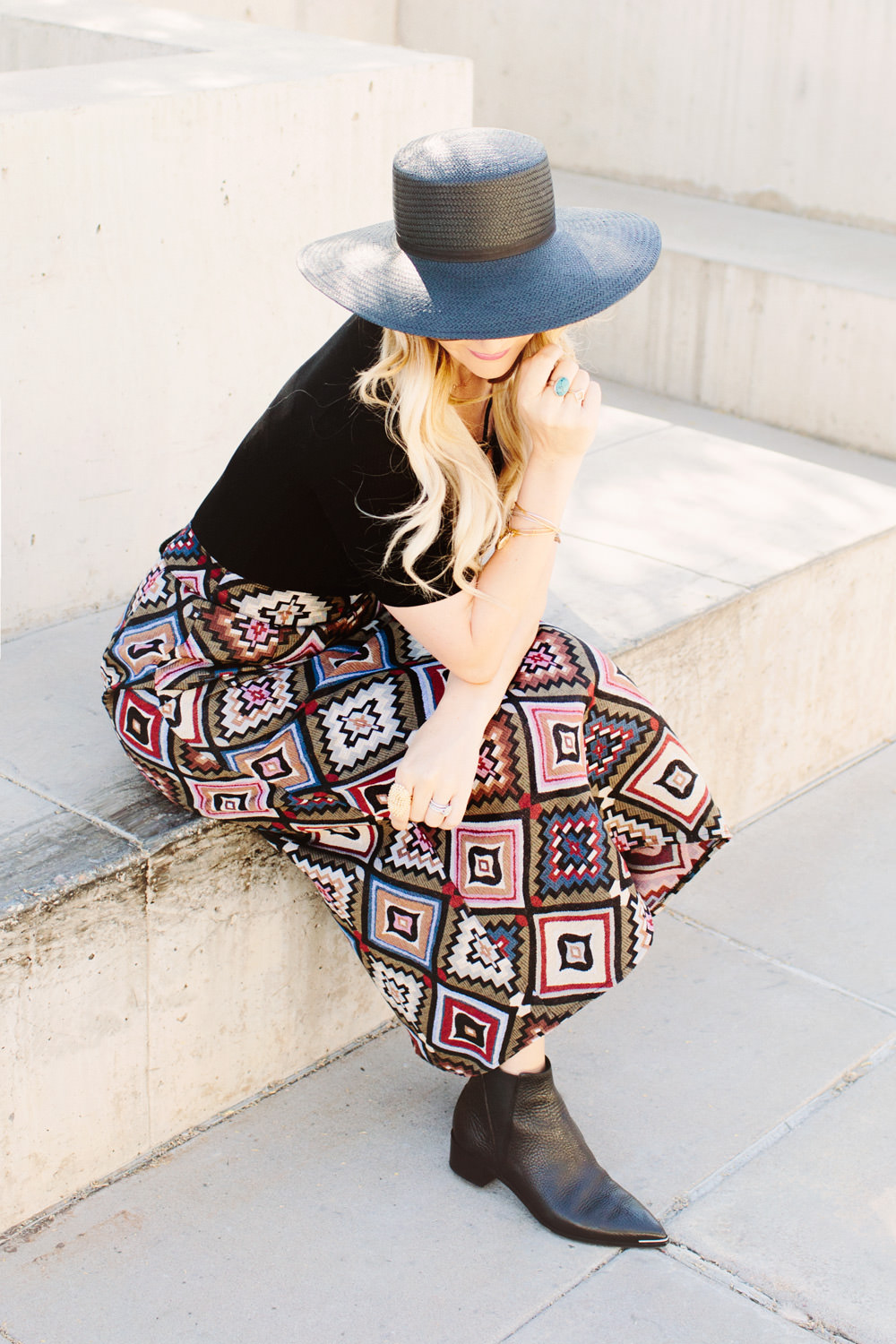asos jacquard maxi skirt fall outfit styled by dash of darling