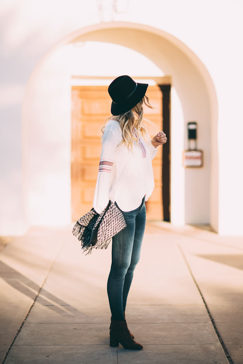 Caitlin Lindquist of the fashion blog Dash of Darling shares an easy weekend boho outfit from Loft