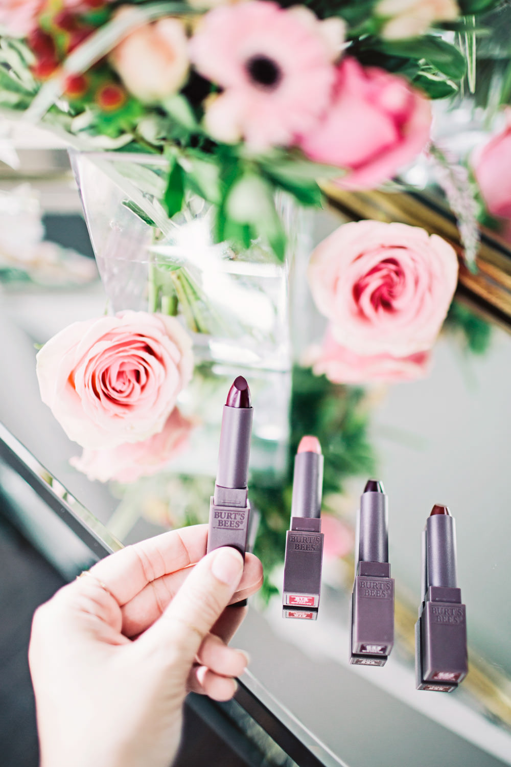 Dash of Darling shares four lipstick shades for spring with Burt's Bees