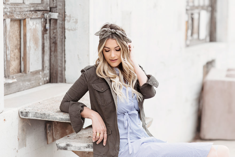 Dash of Darling shares three layering combos for spring including stripes and a military-inspired jacket from abercrombie & fitch.