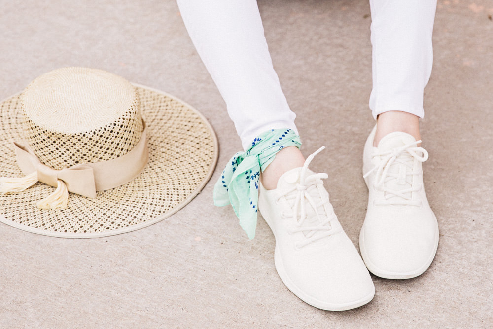 Caitlin Lindquist of Dash of Darling shares an all white outfit for Spring with AllBirds wool runners.