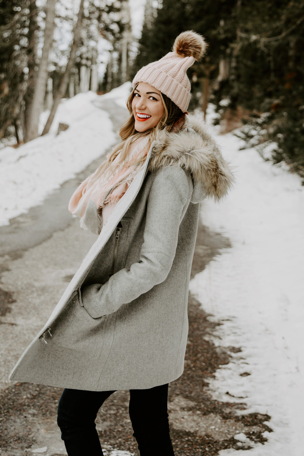 Dash of Darling | Winter Pink Scarf and Pom Beanie Hat