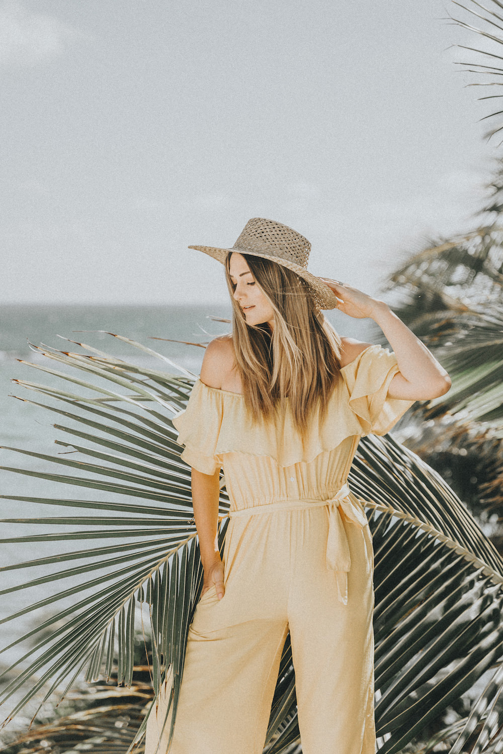 Dash of Darling | Yellow off-shoulder jumpsuit for a tropical vacation