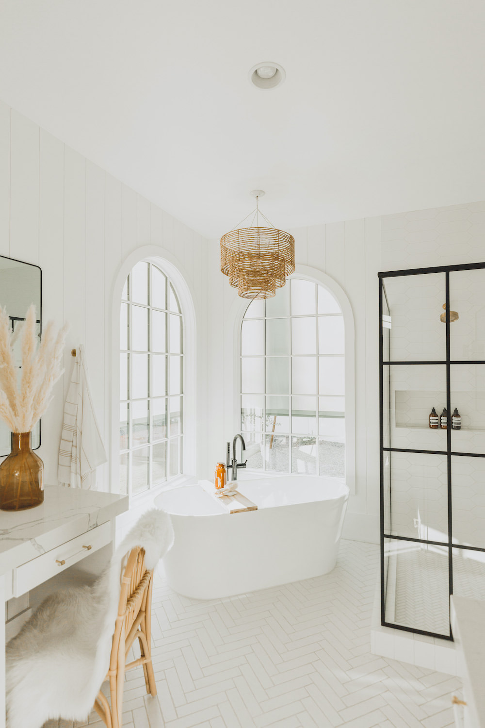 Dash of Darling | Modern Bohemian Bright White Master Bathroom Black Grid Shower